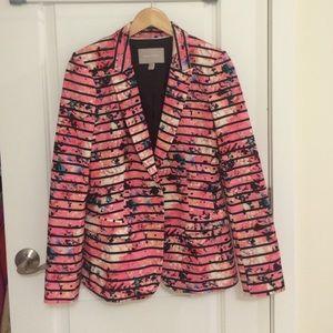 Banana Republic Striped Blazer Jacket Pink Splat